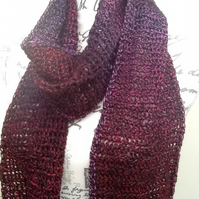 Winter Berry, Super long length Crocheted Deny Brunton Desinger Yarn Scarf.