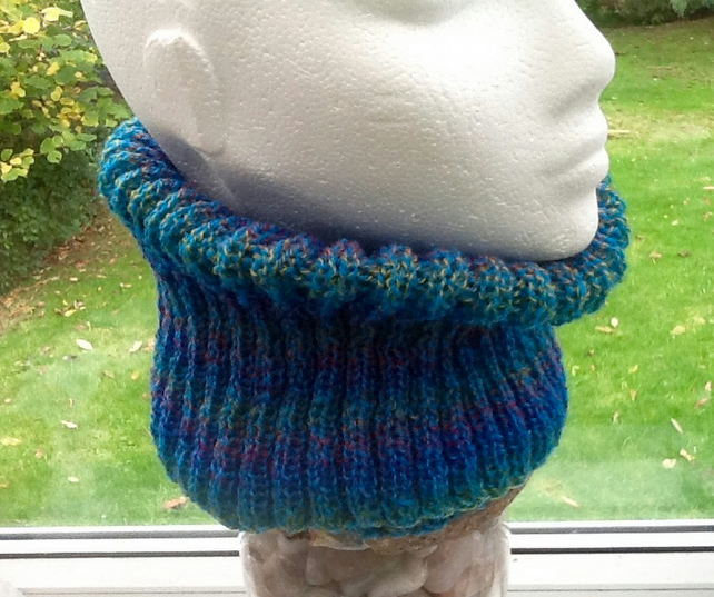 Turquoise Rainbow Wide Rib Knitted Neck Cosy in Denys Brunton Designer Yarn.