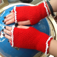 Festive Red!  Crocheted Fingerless Mittens, with Cream Frill Detail!