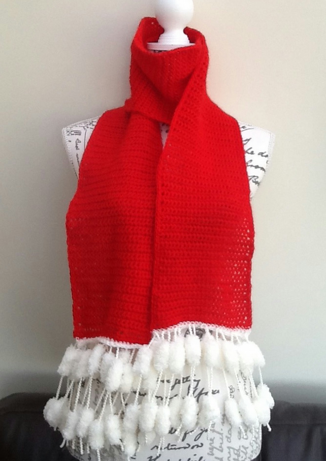 Festive Red! Crocheted Scarf with Pom Pom fringe Detail!