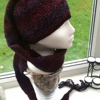 Winter Berry!  Super Long Crocheted Elf Style Hat Scarf with Tassel Detail.