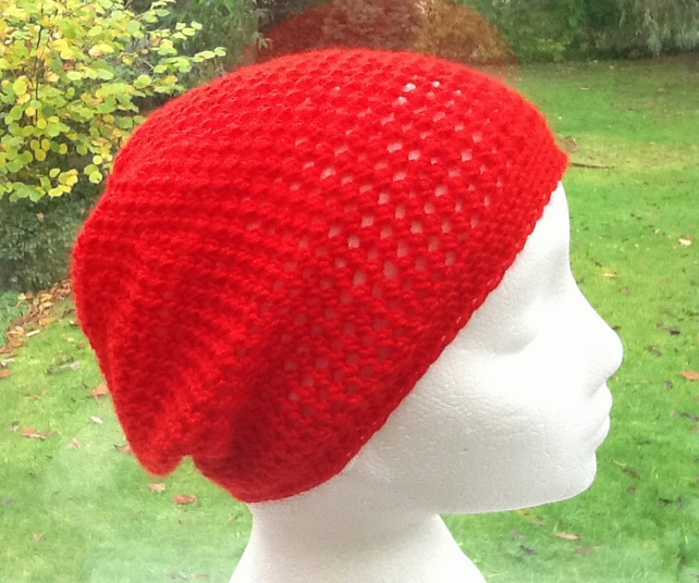 Festive Red!  Crocheted Beanie, Slouchy or Soft Beret.