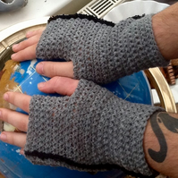 Slate Grey with Black Trim Crochered Fingerless Mittens, Denys Brunton Yarn!