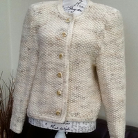 Classic Cream Marl Crocheted Ladies Jacket.  UK size Approx 12 to 14.