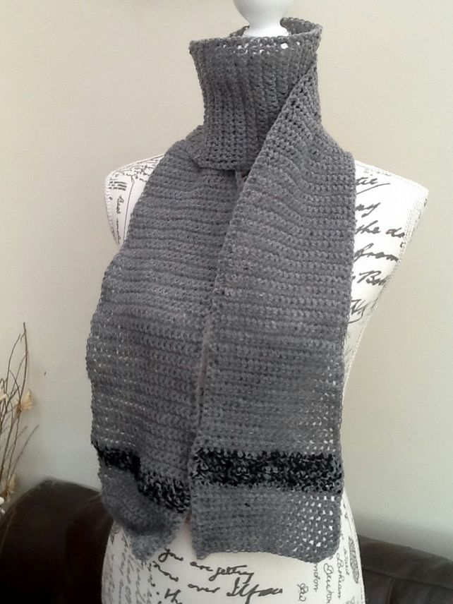 Slate Grey and Black Crocheted Scraf in Denys Brunton Designer Yarn.