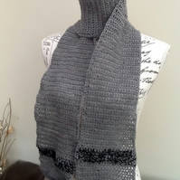 Slate Grey and Black Crocheted Scarf in Denys Brunton Designer Yarn.