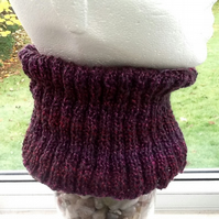 Winter Berry Rainbow Wide Rib Neck Cosy in Denys Brunton Designer Yarn.