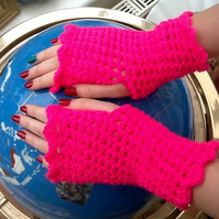 Hot Pink Crocheted Fingerless Mittens, perfect Jogger Wear!