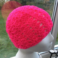 Hot Pink, Super Bright Crocheted Jogger Wear Hat.