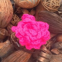 Hot Pink Vibrant Crocheted Rose Hair Accessory with intergrated hair elastic.