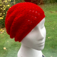 Festive Red!  Crocheted Soft Beret, Beanie or Slouchy Hat in Tripple Crochet