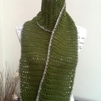 Olive Green!  Crocheted Super Chunky Scarf for a Lady or a Gent!