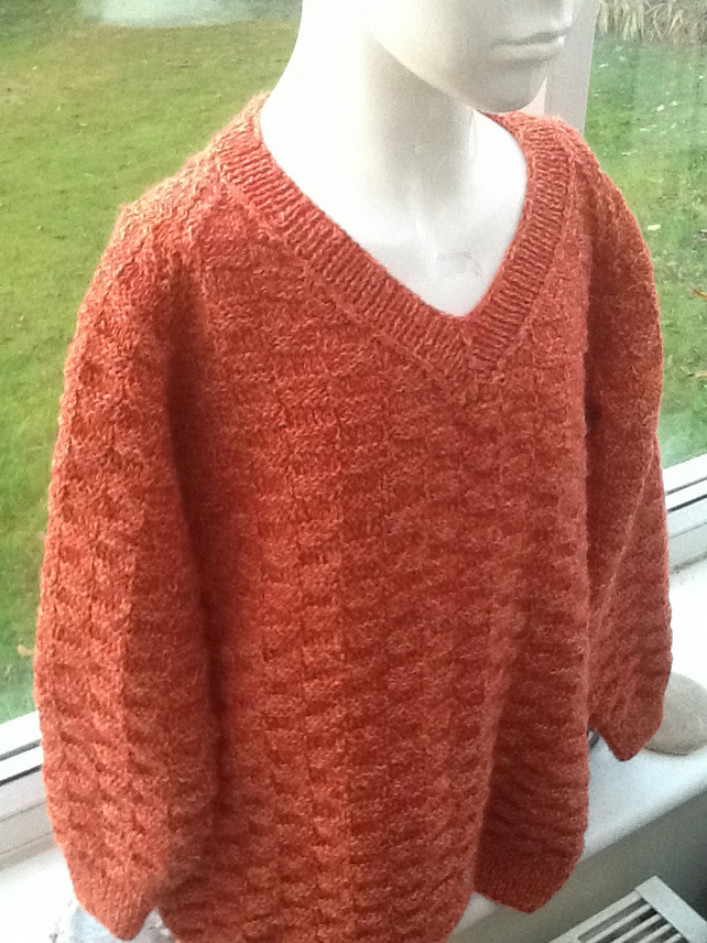 Russet Marl Hand Knitted Child's Jumper with Brick Pattern.  6 to 8 yrs.