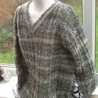 Green Marble Super Chunky Knitted Long length Jumper for Ages 8 to 10 years.