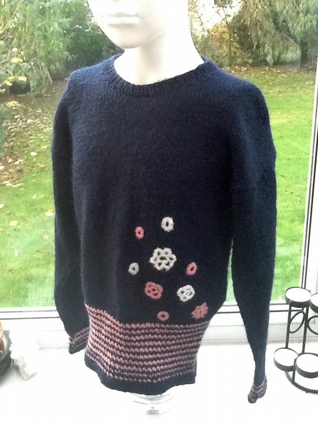 Floral Navy!  Girl's Knitted Jumper with Floral Crochet Detail, Age 4 - 6 years.