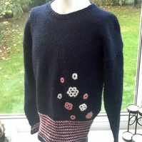 Sale!  Floral Navy! Girl's Knitted Jumper with Floral Crochet Detail, 4-6 years.