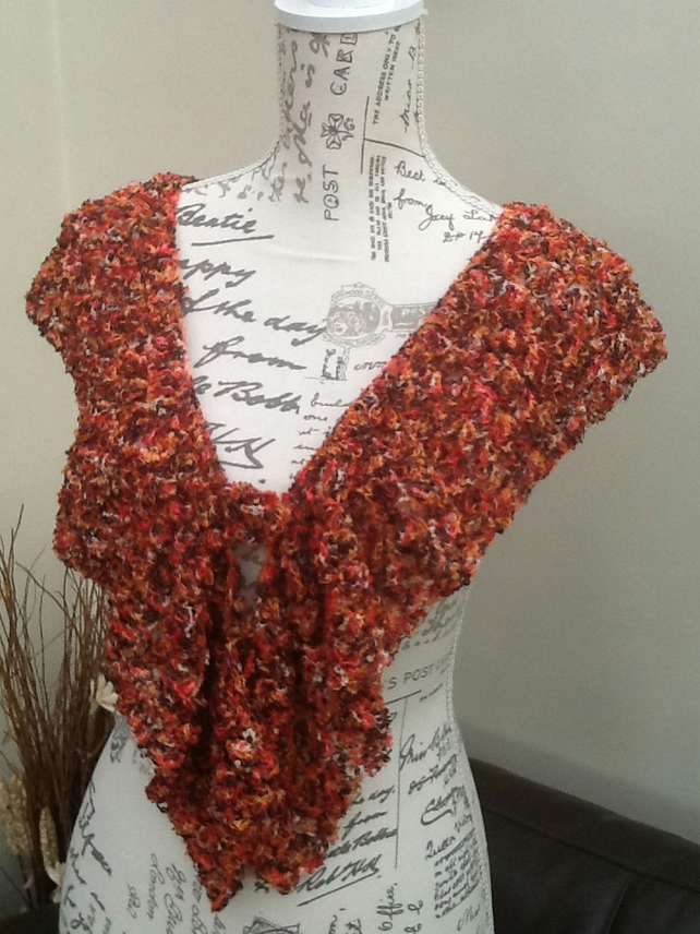 Russet Tones Lacy Crocheted Shoulder Wrap or Scarflet, with floral brooch
