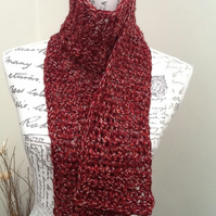 Super Chunky Crocheted Burgundy Marl Scarf for a Lady or Gent.
