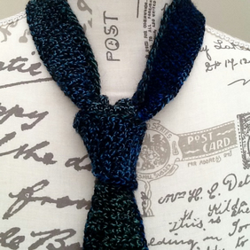 Kingfisher Hand Crocheted Gents Neck Tie in Denys Brunton Designer Yarn.