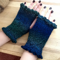Kingfisher Crocheted Fingerless Mittens in Denys Brunton Designer Yarn.
