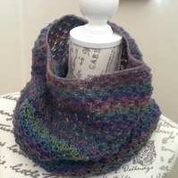 Muted Rainbow Crocheted Snood or Cowl in Denys Brunton Designer Yarn!