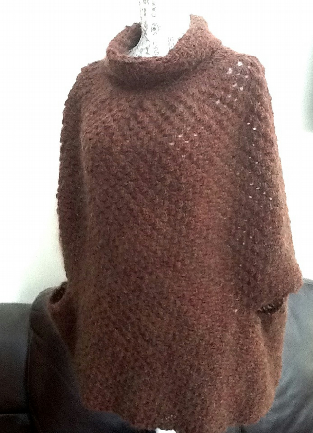 Luxury Woodland Chunky Crocheted Polo Poncho in 100% Wool
