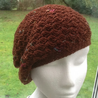 Chocolate Shell!  Crocheted Soft Beret, Beanie or Slouchy Hat.