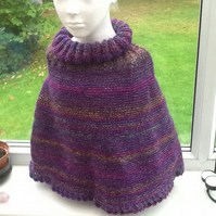 Purple Rainbow Designer Yarn Polo Poncho, for child aged approx 2 to 4 years.