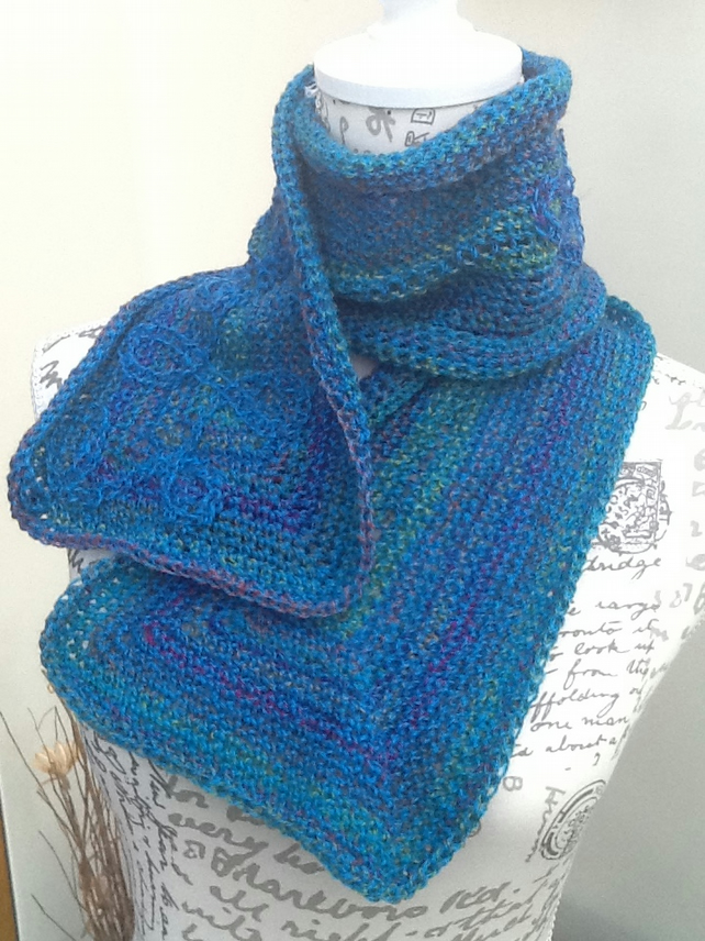 Turquoise Rainbow Scarflet or Neck Cosy in Denys Brunton Designer Yarn.