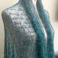 Mermaid Lacy Sea Nymph Ilaria Calenzano Italian Designer Yarn Knitted Shawl.