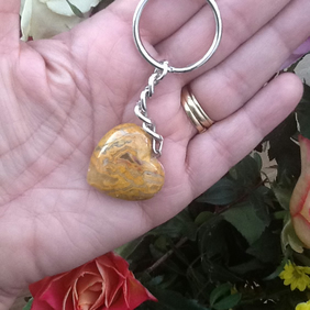 Veined Agate Cushion Heart Gemstone Keyring or Handbag Charm!
