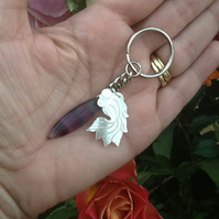 Rainbow Fluorite and Mother of Pearl Handbag charm!