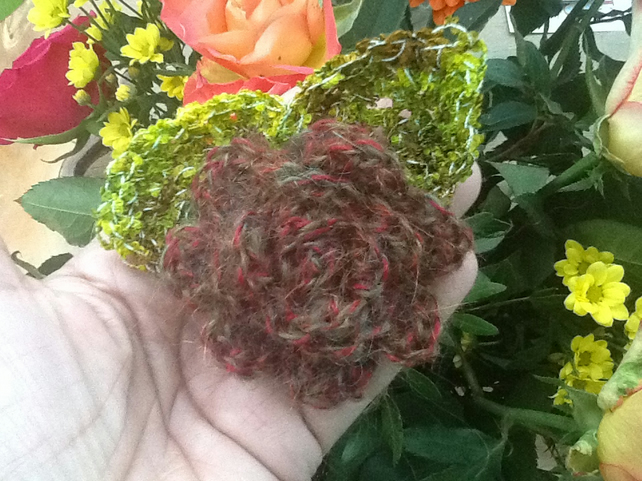 Woodland Rose Crocheted Corsage or Shawl Pin.