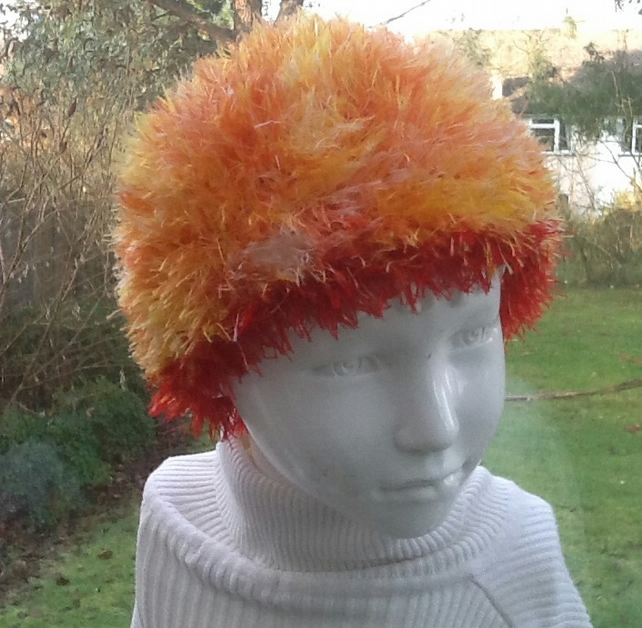 Blaze!  Fluffy Beanie Hat for Child approx aged 2 to 4 years.
