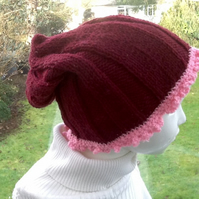 Burgundy & Pink!  Child's Knitted & Crocheted Slouchy Beanie Hat! 6 - 10 yrs!