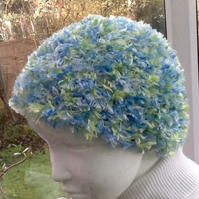 Sea Breeze! Fluffy Crocheted Baby Beanie in Eyelash Yarn for Ages 6 to 18 months