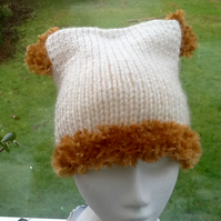 Teddy!  Knitted and Crocheted Beanie Hat for child approx 6 to 10 years!