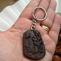 Carved Nephrite Jade Amulet Cheeky Monkey Keyring or Handbag Charm