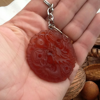 Carved Red Jade Dragon Amulet Keyring or Handbag Charm.