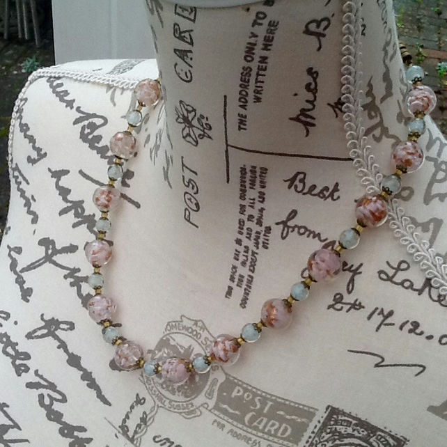 Mosaic Sparkle! Vintage Glass Bead Necklace with Bronze Tone barrel clasp.