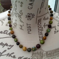 Rainbow Gemstone Bead Necklace with Barrel Clasp.
