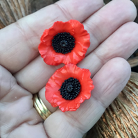 Pair of Red Poppy Delicate Buttons.