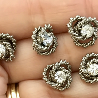 Prestige Set of Five Vintage Knot and Faceted Crystal Buttons.