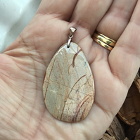 Picture Jasper Gemstone Pendant with Sterling Silver Bail.