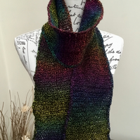 Aurora!  Long Length Crocheted Scarf in Denys Brunton Designer Yarn.