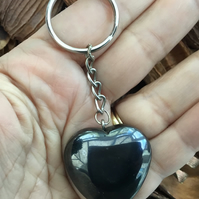 Substantial Puffed Heart Hematite Gemstone Keyring Or Handbag Charm.