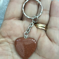 Pretty Little Goldstone Puffed Heart Gemstone Keyring or Handbag Charm.