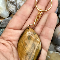 Stunning Golden Tiger's Eye Gemstone Keyring or Handbag Charm.