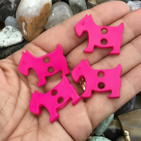 Set of 4 Pink Scottie Dog Buttons!