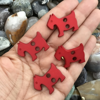 Set of 4 Red Scottie Dog Buttons!